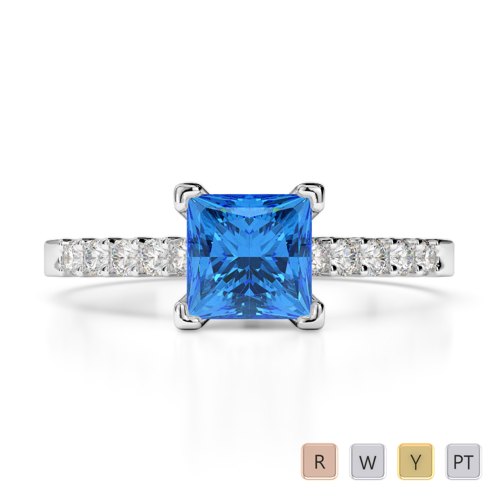 Gold / Platinum Round and Princess Cut Blue Topaz and Diamond Engagement Ring AGDR-1210