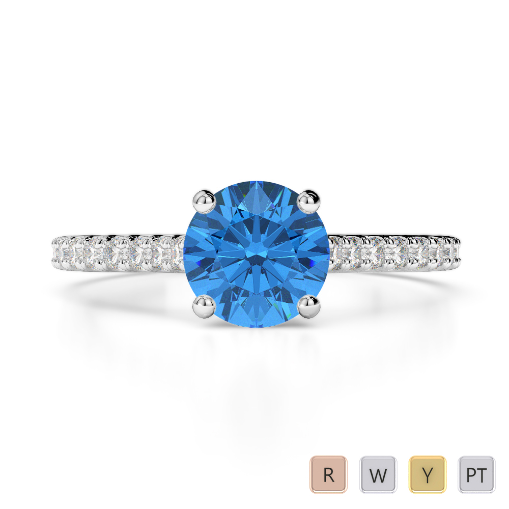 Gold / Platinum Round Cut Blue Topaz and Diamond Engagement Ring AGDR-1213