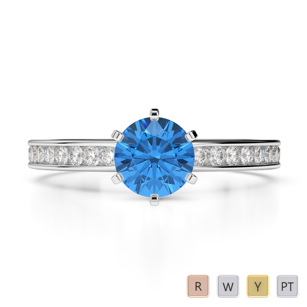 Gold / Platinum Round Cut Blue Topaz and Diamond Engagement Ring AGDR-1214