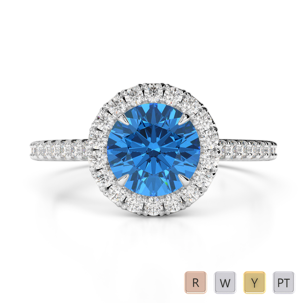 Gold / Platinum Round Cut Blue Topaz and Diamond Engagement Ring AGDR-1215
