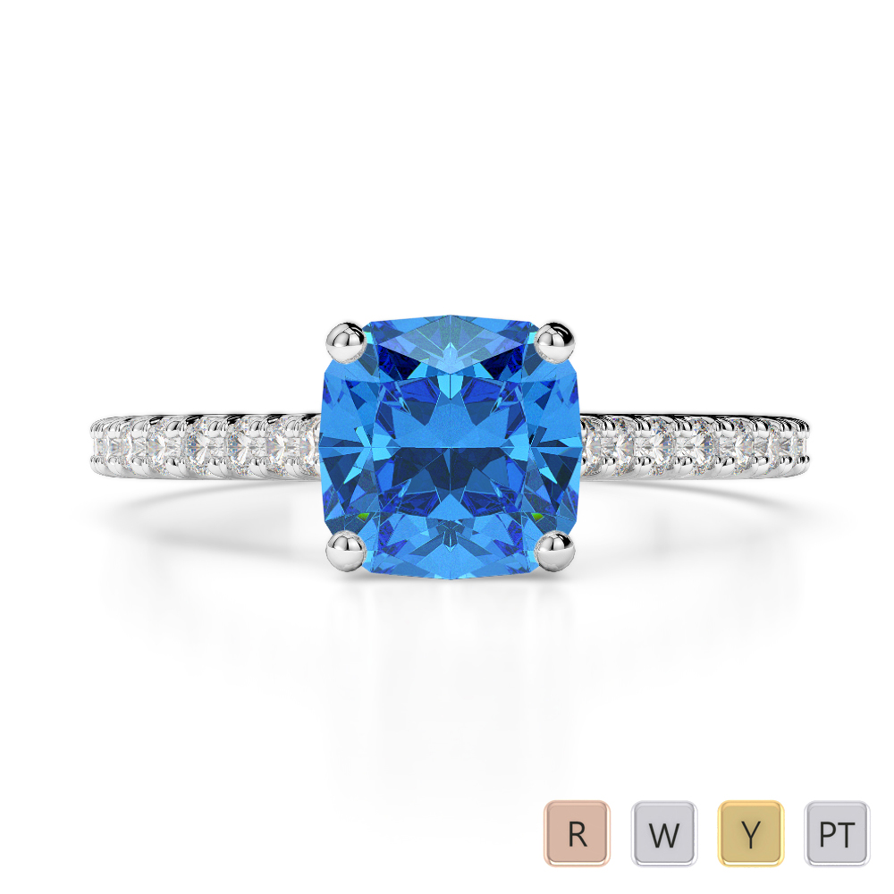 Gold / Platinum Round and Cushion Cut Blue Topaz and Diamond Engagement Ring AGDR-1216