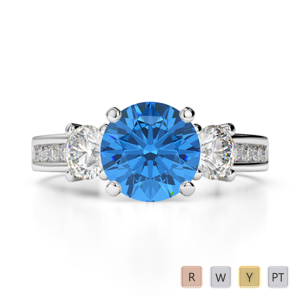 Gold / Platinum Round Cut Blue Topaz and Diamond Engagement Ring AGDR-1218