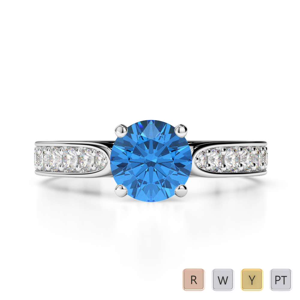 Gold / Platinum Round Cut Blue Topaz and Diamond Engagement Ring AGDR-1221