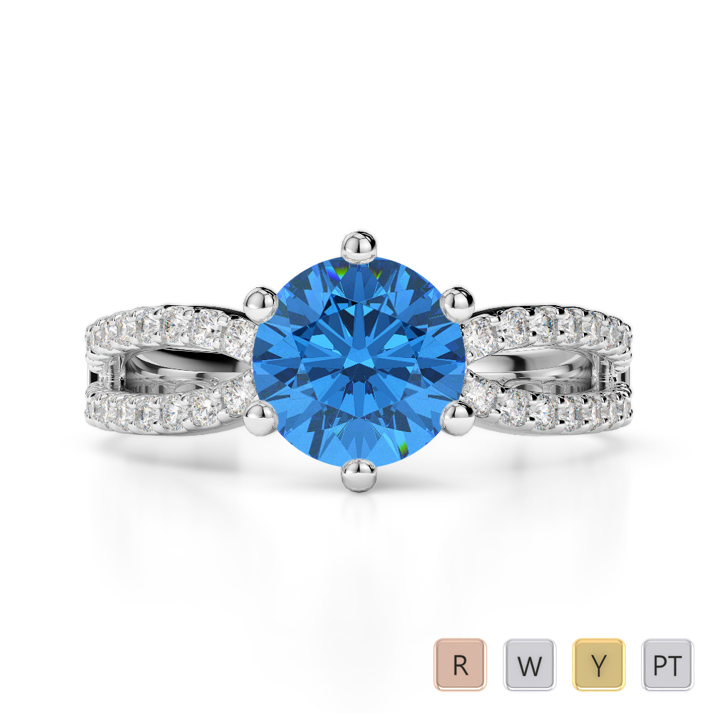 Gold / Platinum Round Cut Blue Topaz and Diamond Engagement Ring AGDR-1223