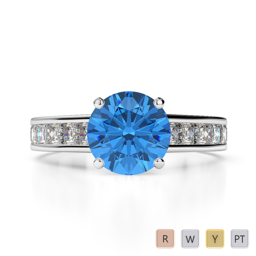 Gold / Platinum Round and Princess Cut Blue Topaz and Diamond Engagement Ring AGDR-1224