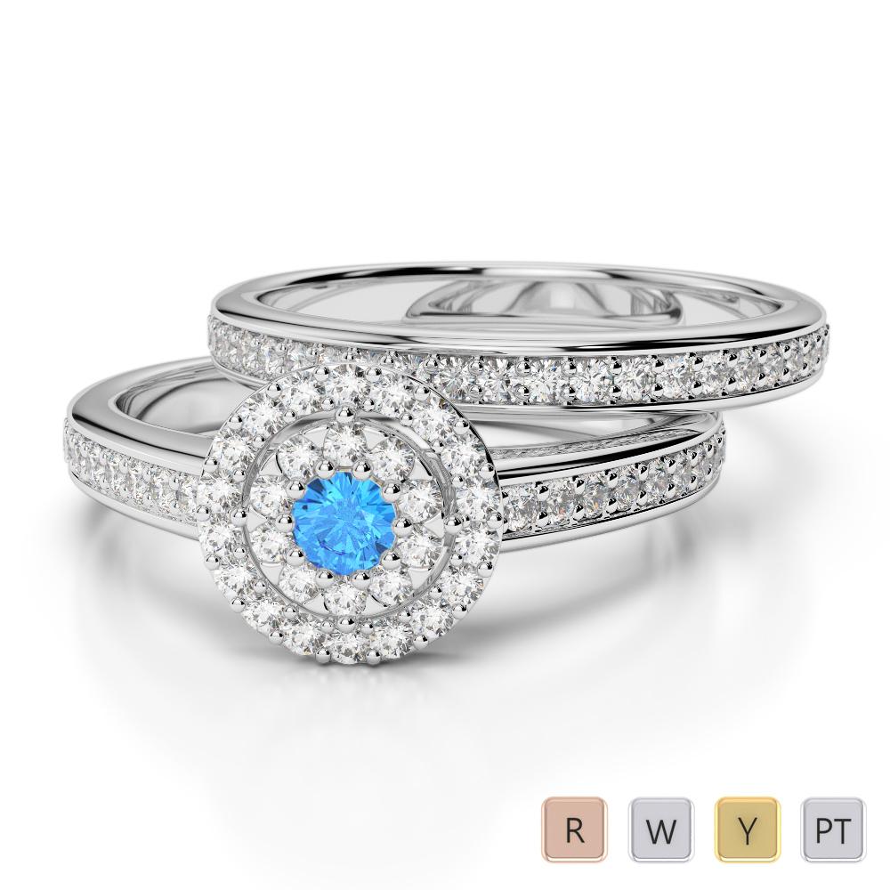 Gold / Platinum Round cut Blue Topaz and Diamond Bridal Set Ring AGDR-1239