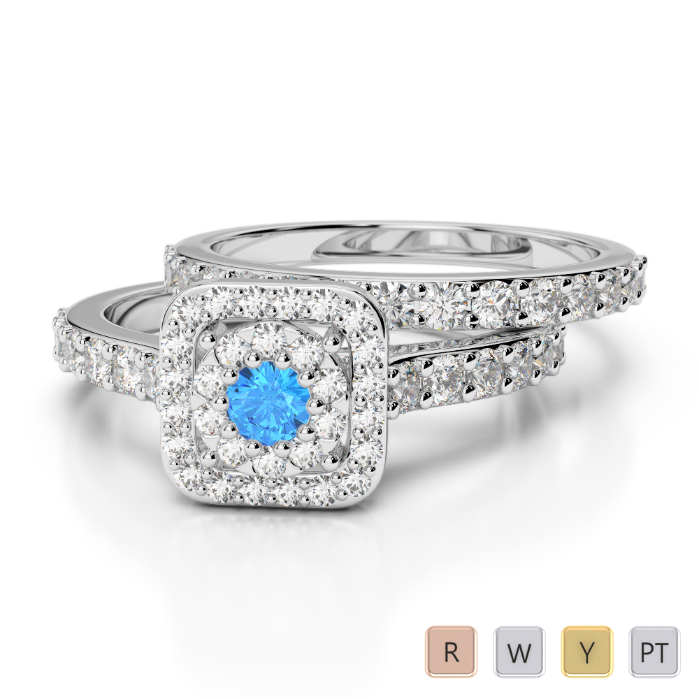 Gold / Platinum Round cut Blue Topaz and Diamond Bridal Set Ring AGDR-1246