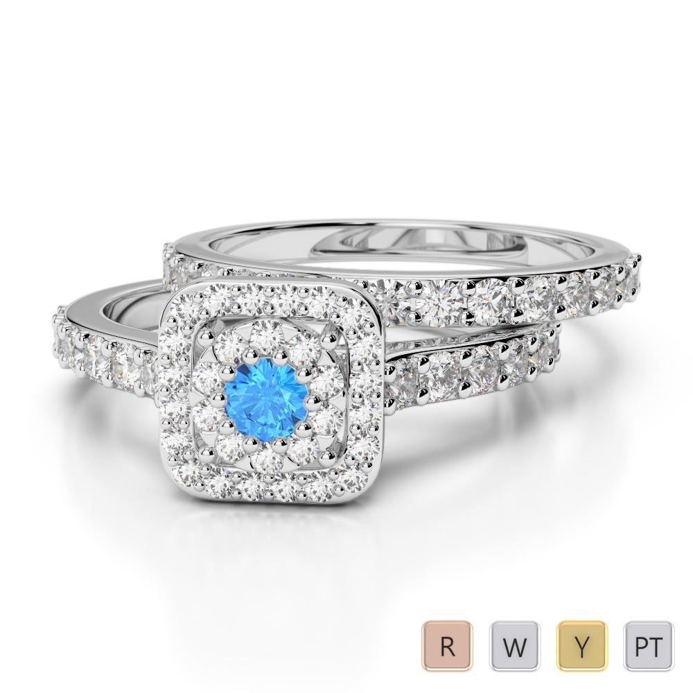 Gold / Platinum Round cut Blue Topaz and Diamond Bridal Set Ring AGDR-1246