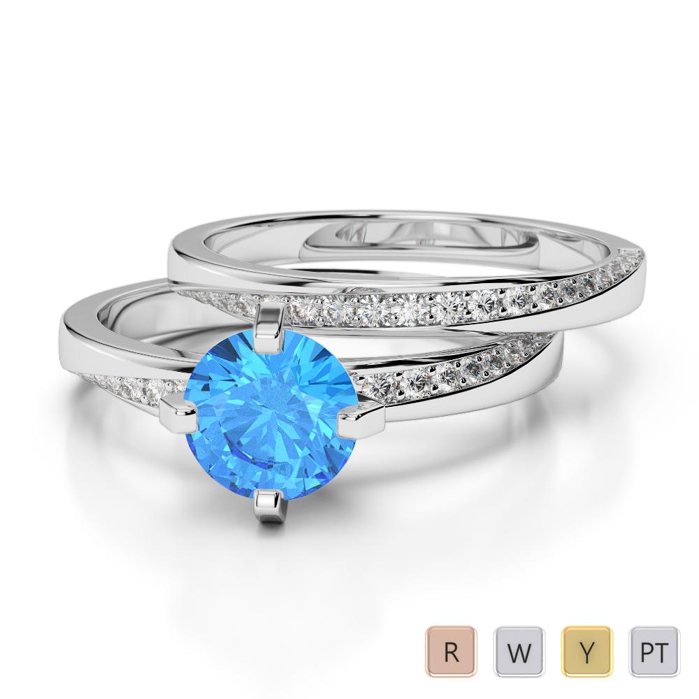 Gold / Platinum Round cut Blue Topaz and Diamond Bridal Set Ring AGDR-2001