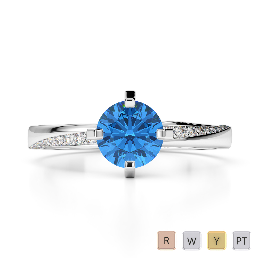 Gold / Platinum Round Cut Blue Topaz and Diamond Engagement Ring AGDR-2002