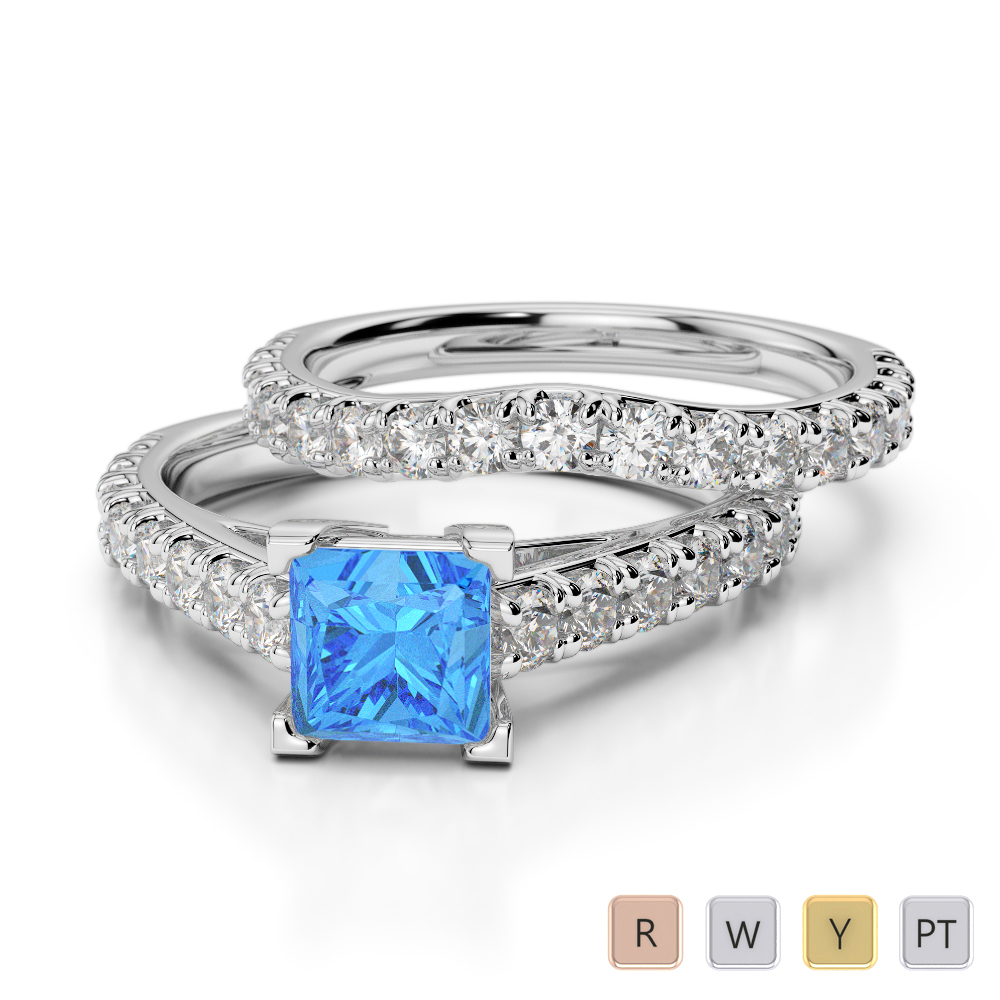 Gold / Platinum Round and Princess cut Blue Topaz and Diamond Bridal Set Ring AGDR-2007