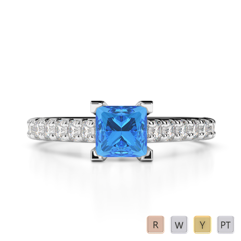 Gold / Platinum Round and Princess Cut Blue Topaz and Diamond Engagement Ring AGDR-2008