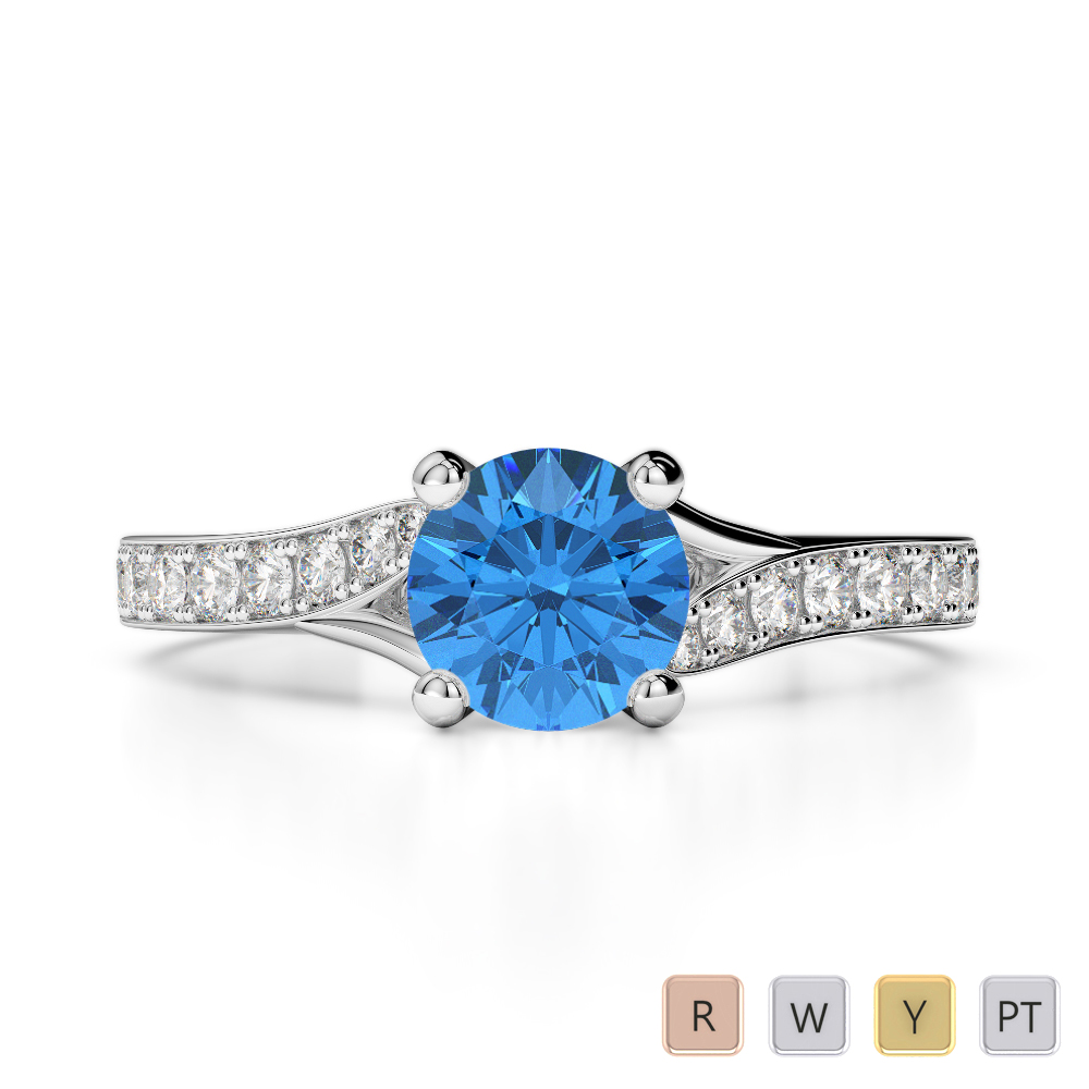 Gold / Platinum Round Cut Blue Topaz and Diamond Engagement Ring AGDR-2012