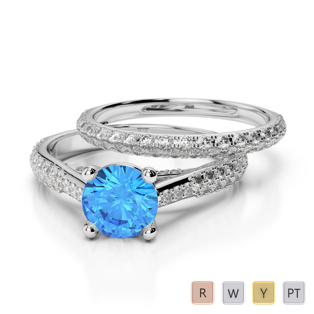 Gold / Platinum Round cut Blue Topaz and Diamond Bridal Set Ring AGDR-2013