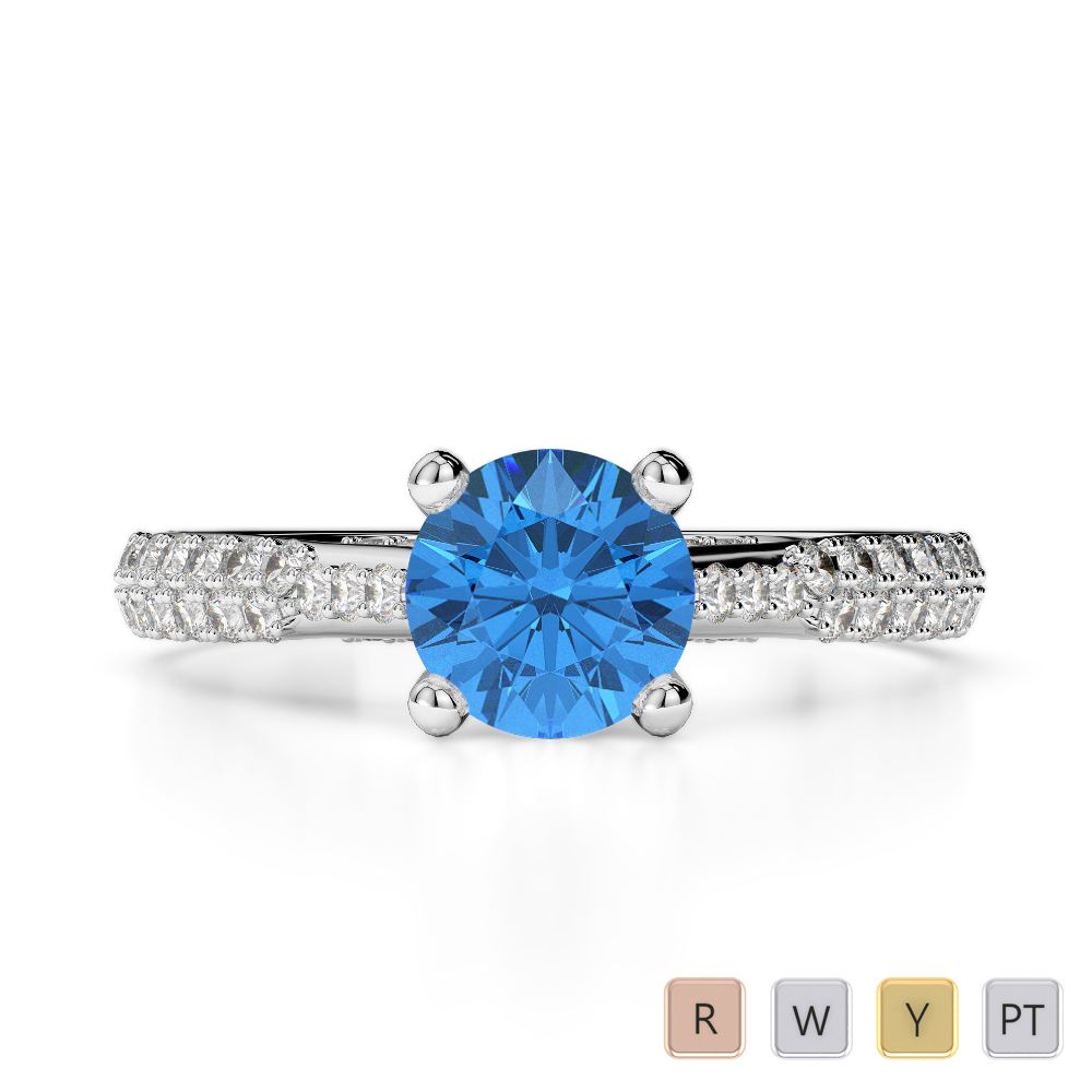 Gold / Platinum Round Cut Blue Topaz and Diamond Engagement Ring AGDR-2014
