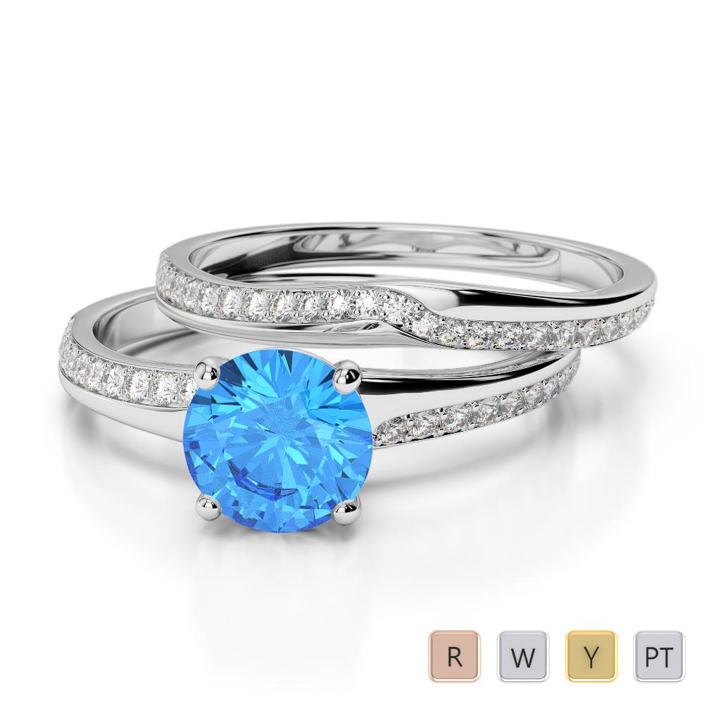 Gold / Platinum Round cut Blue Topaz and Diamond Bridal Set Ring AGDR-2015