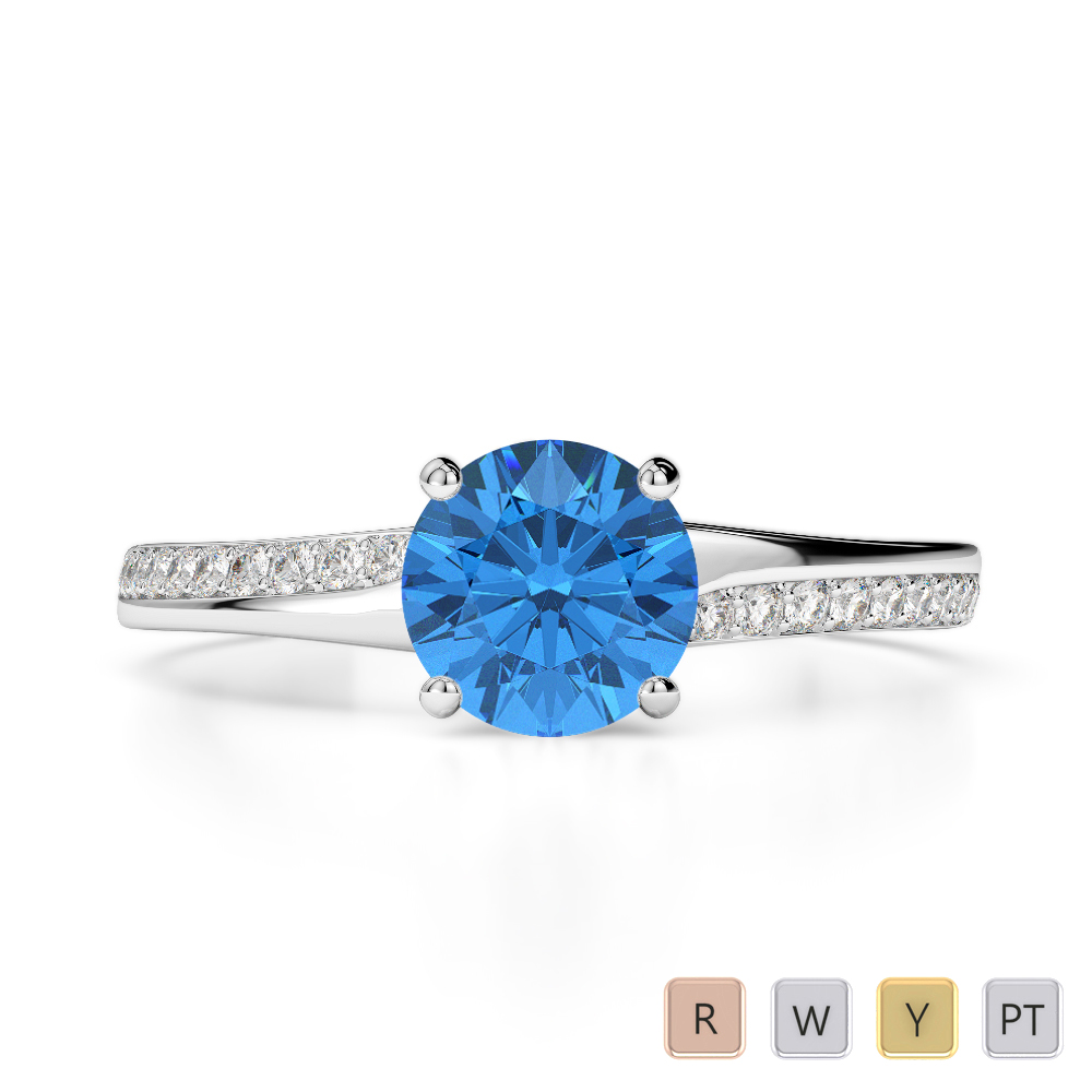 Gold / Platinum Round Cut Blue Topaz and Diamond Engagement Ring AGDR-2016