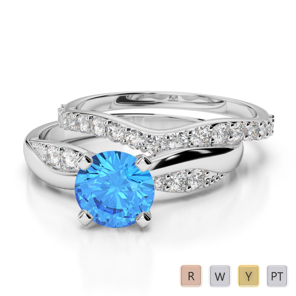 Gold / Platinum Round cut Blue Topaz and Diamond Bridal Set Ring AGDR-2023