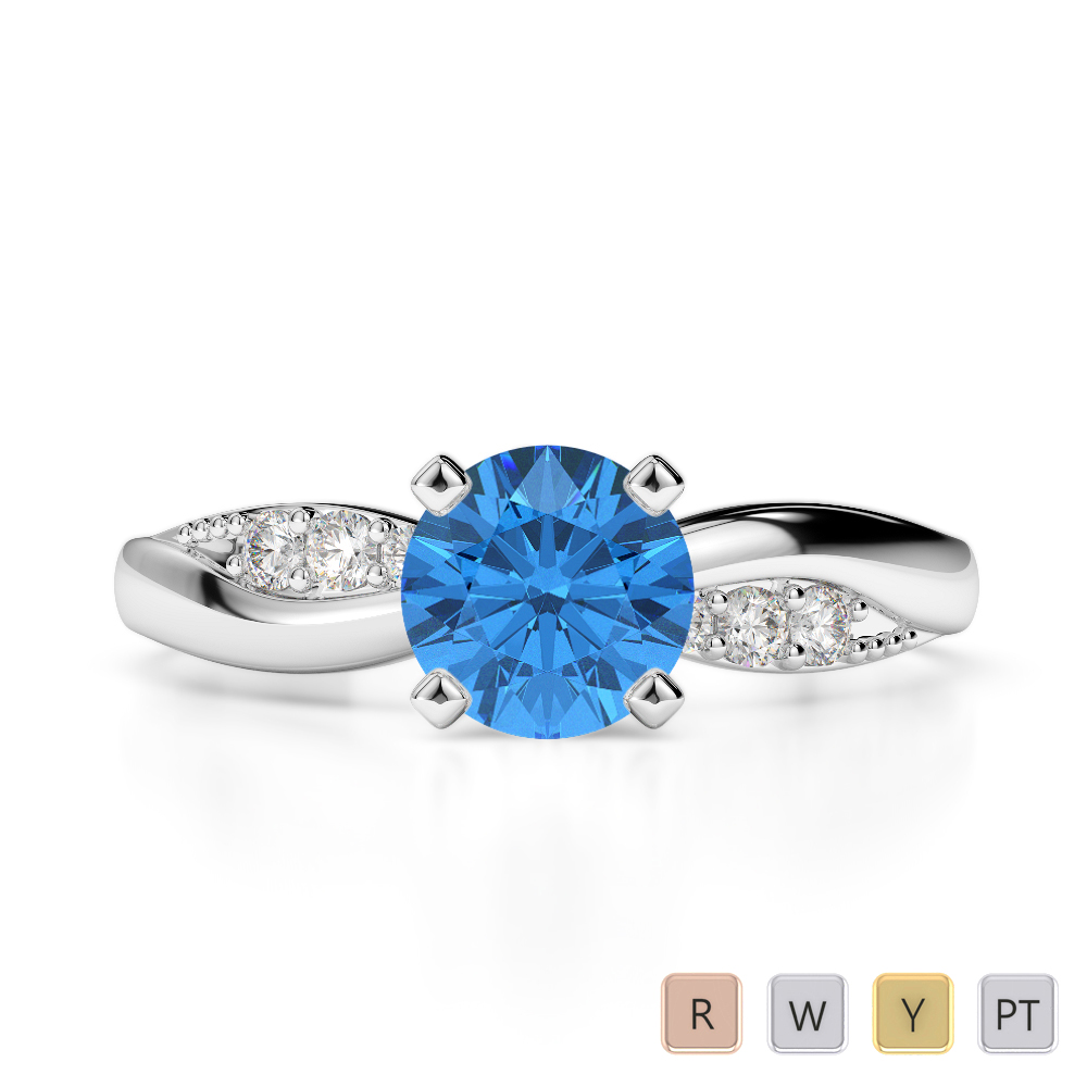 Gold / Platinum Round Cut Blue Topaz and Diamond Engagement Ring AGDR-2024