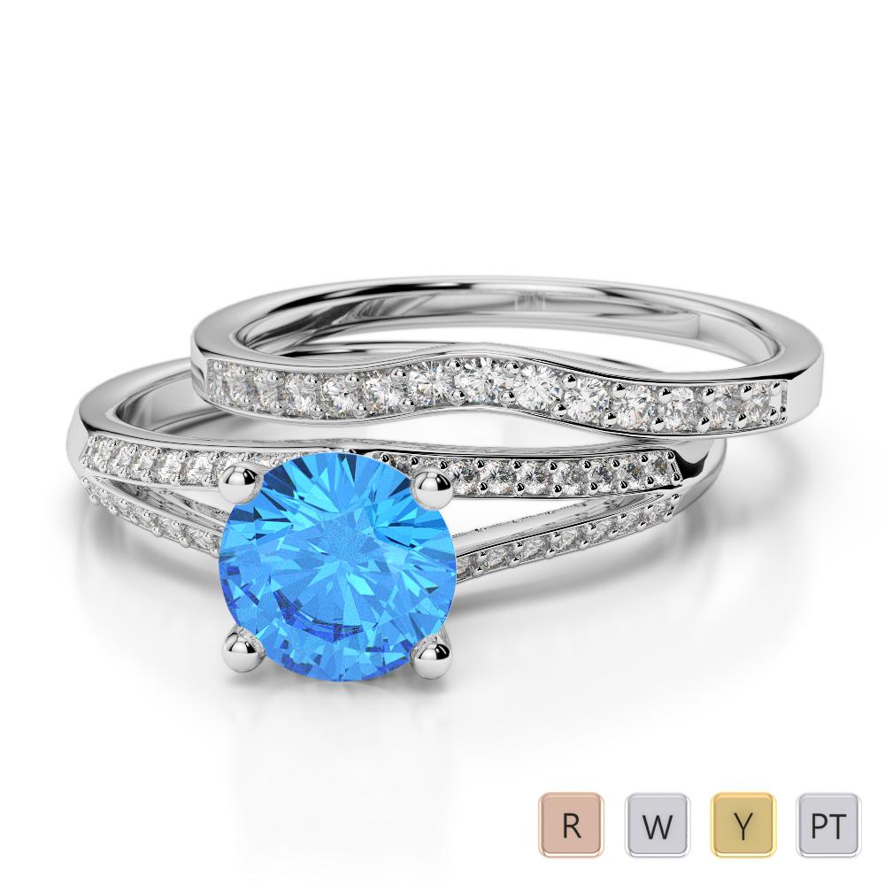 Gold / Platinum Round cut Blue Topaz and Diamond Bridal Set Ring AGDR-2037