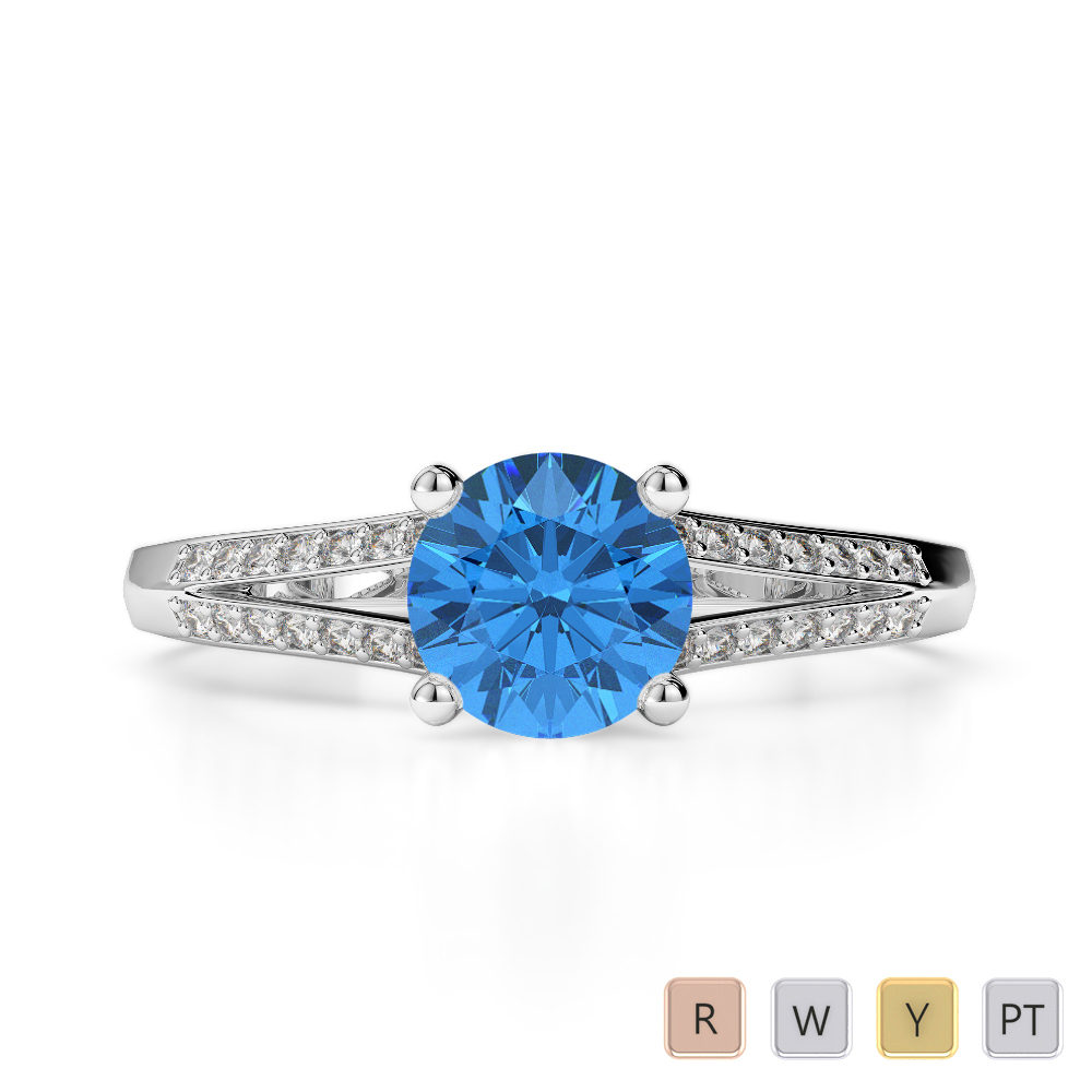Gold / Platinum Round Cut Blue Topaz and Diamond Engagement Ring AGDR-2038