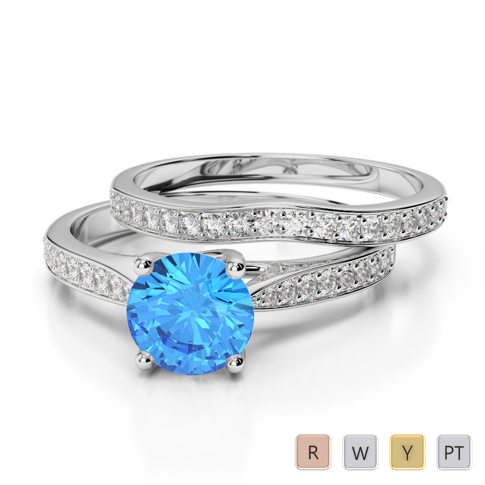 Gold / Platinum Round cut Blue Topaz and Diamond Bridal Set Ring AGDR-2053