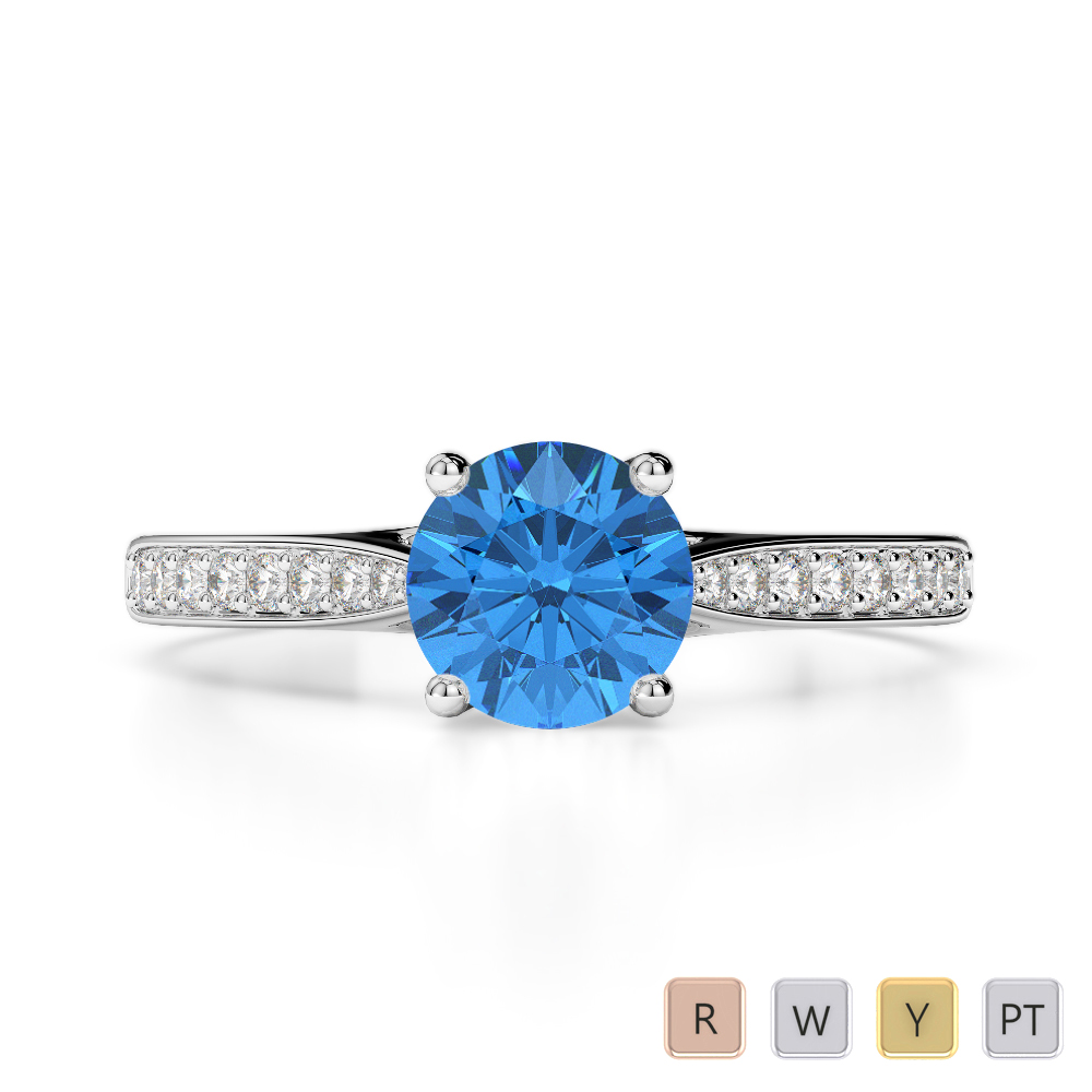 Gold / Platinum Round Cut Blue Topaz and Diamond Engagement Ring AGDR-2054