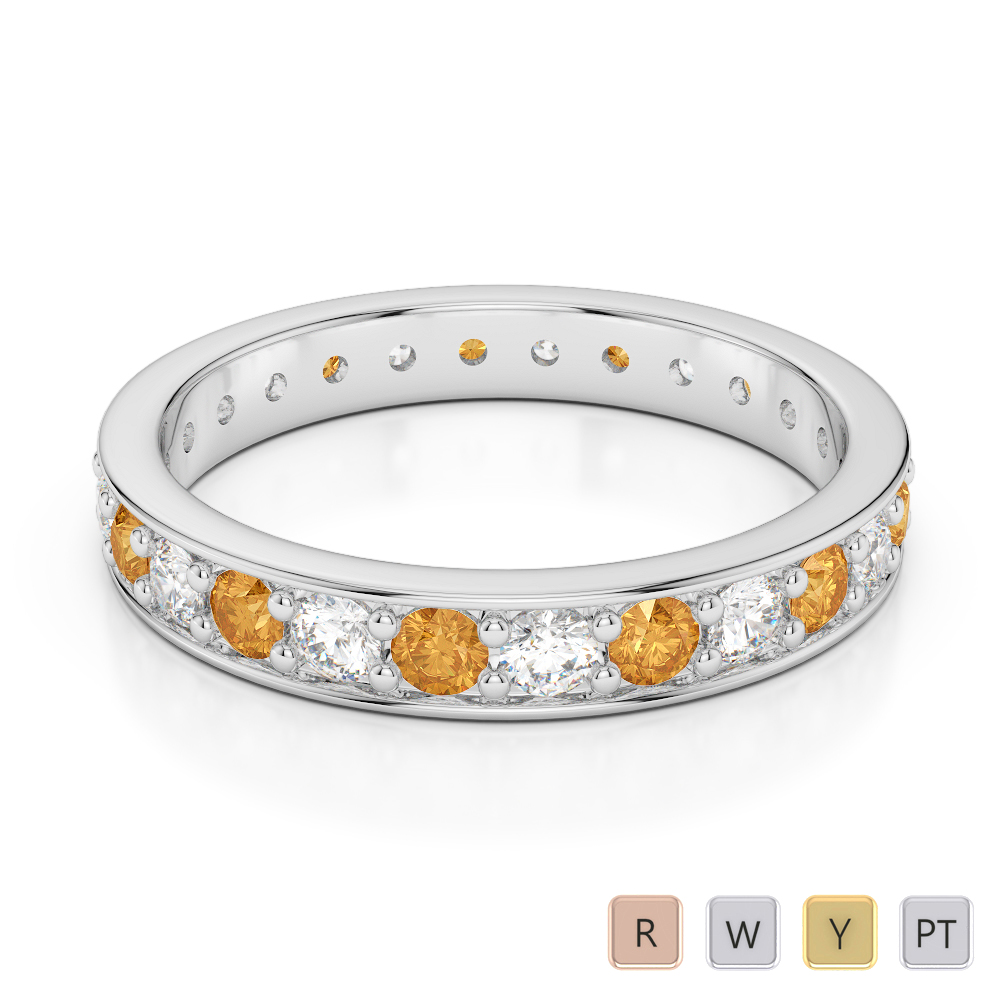 3 MM Gold / Platinum Round Cut Citrine and Diamond Full Eternity Ring AGDR-1080