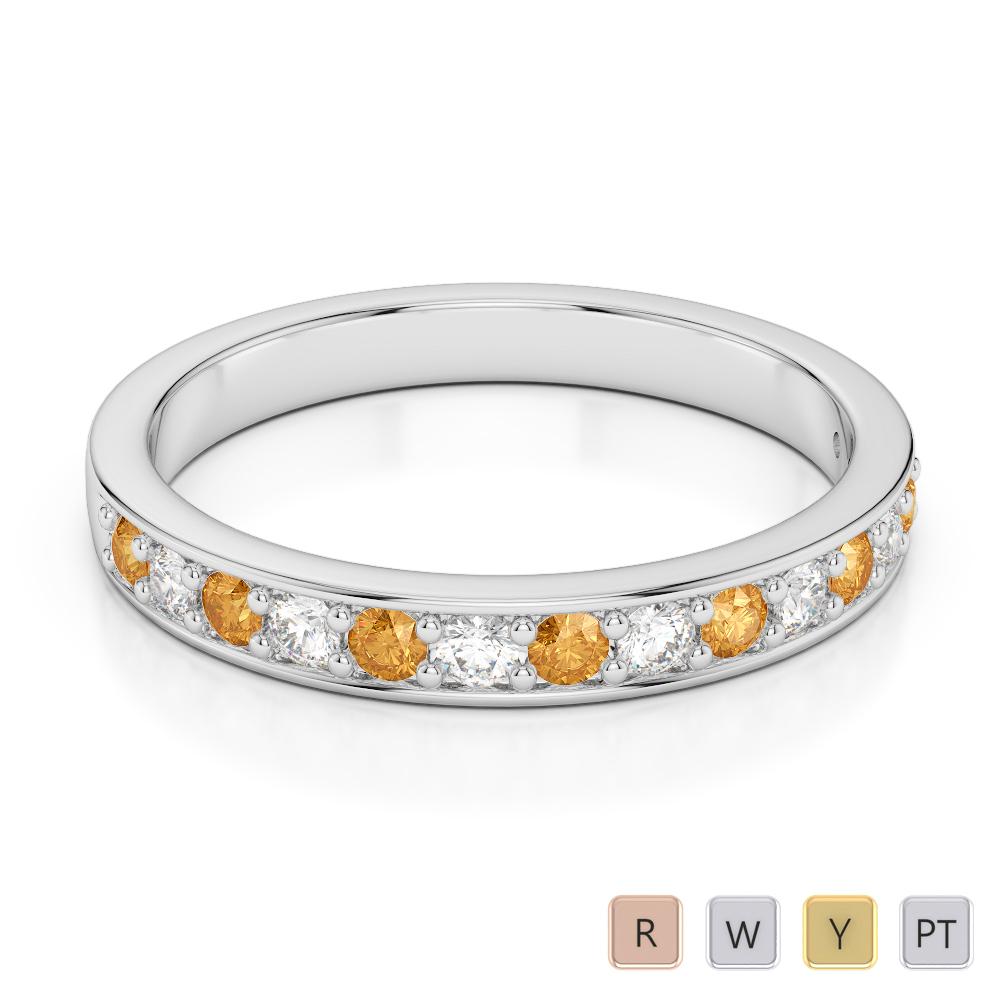 2.5 MM Gold / Platinum Round Cut Citrine and Diamond Half Eternity Ring AGDR-1083