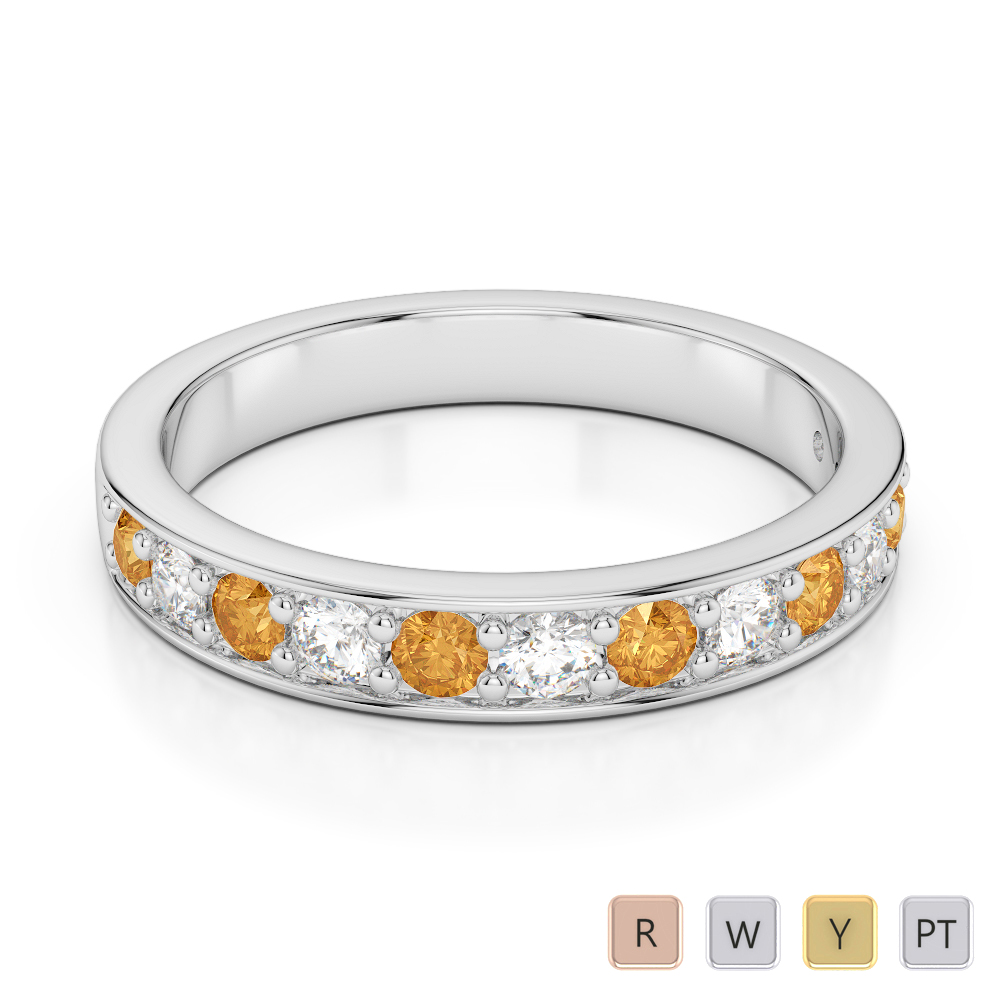 3 MM Gold / Platinum Round Cut Citrine and Diamond Half Eternity Ring AGDR-1084
