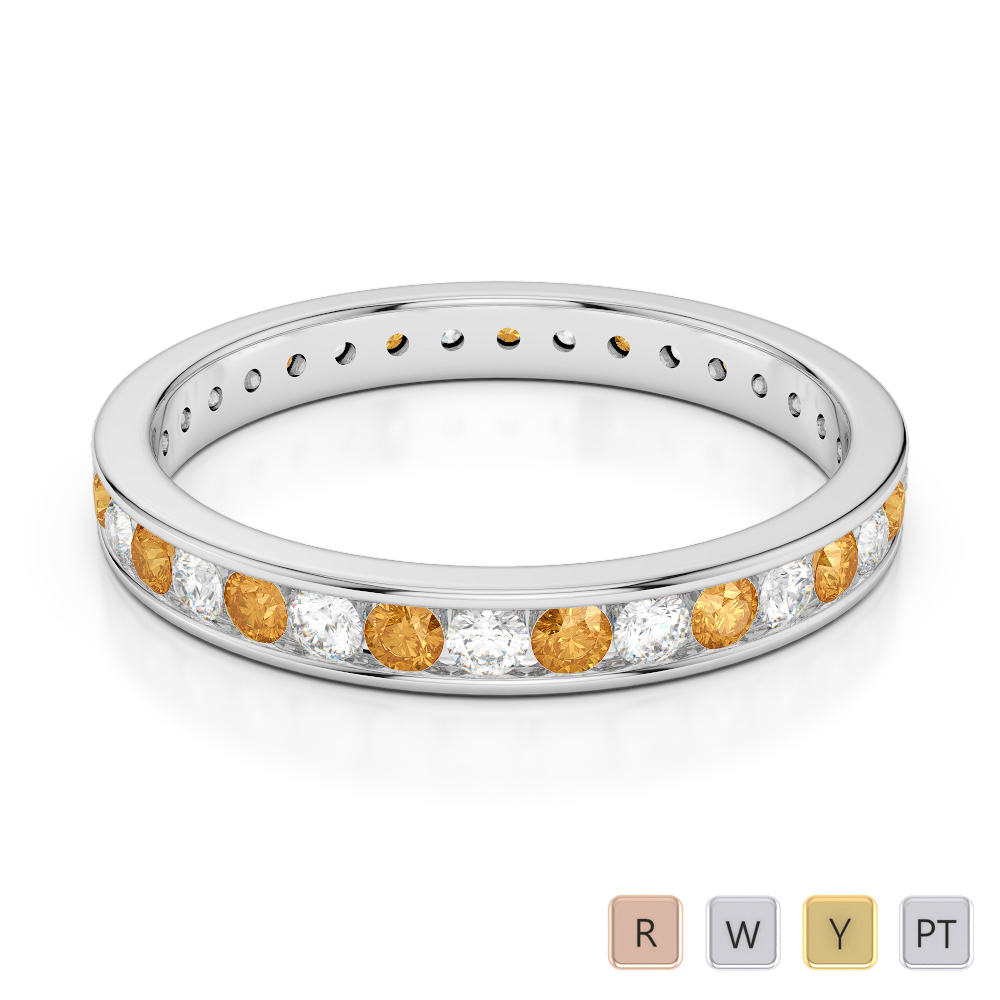 3 MM Gold / Platinum Round Cut Citrine and Diamond Full Eternity Ring AGDR-1087