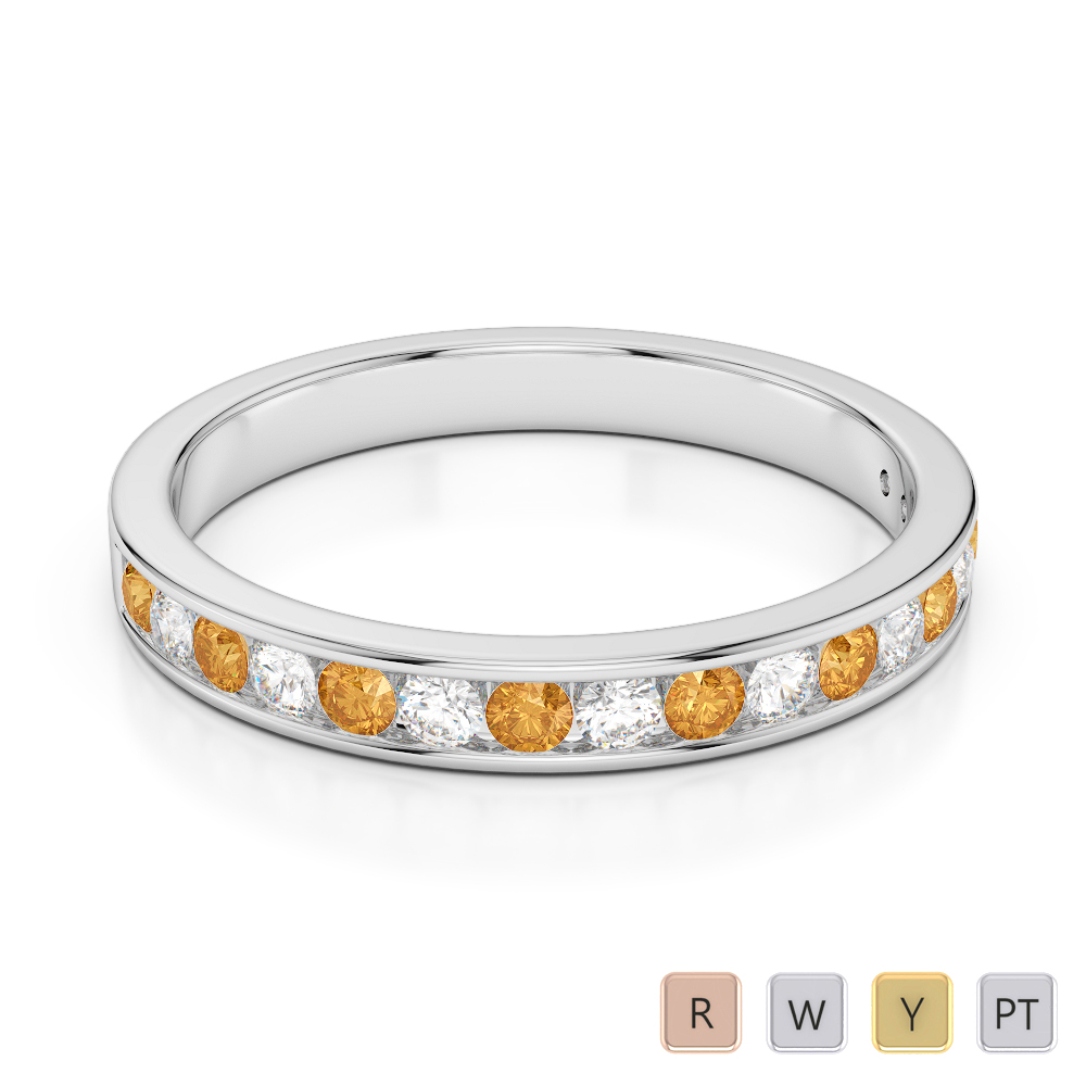 3 MM Gold / Platinum Round Cut Citrine and Diamond Half Eternity Ring AGDR-1090