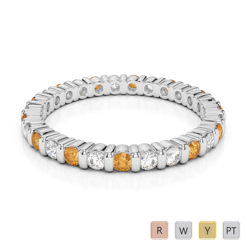 2 MM Gold / Platinum Round Cut Citrine and Diamond Full Eternity Ring AGDR-1092
