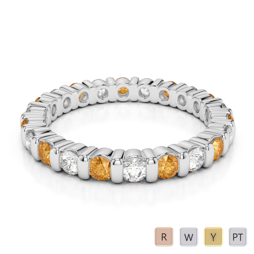 2.5 MM Gold / Platinum Round Cut Citrine and Diamond Full Eternity Ring AGDR-1093