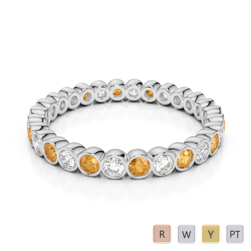 2.5 MM Gold / Platinum Round Cut Citrine and Diamond Full Eternity Ring AGDR-1099