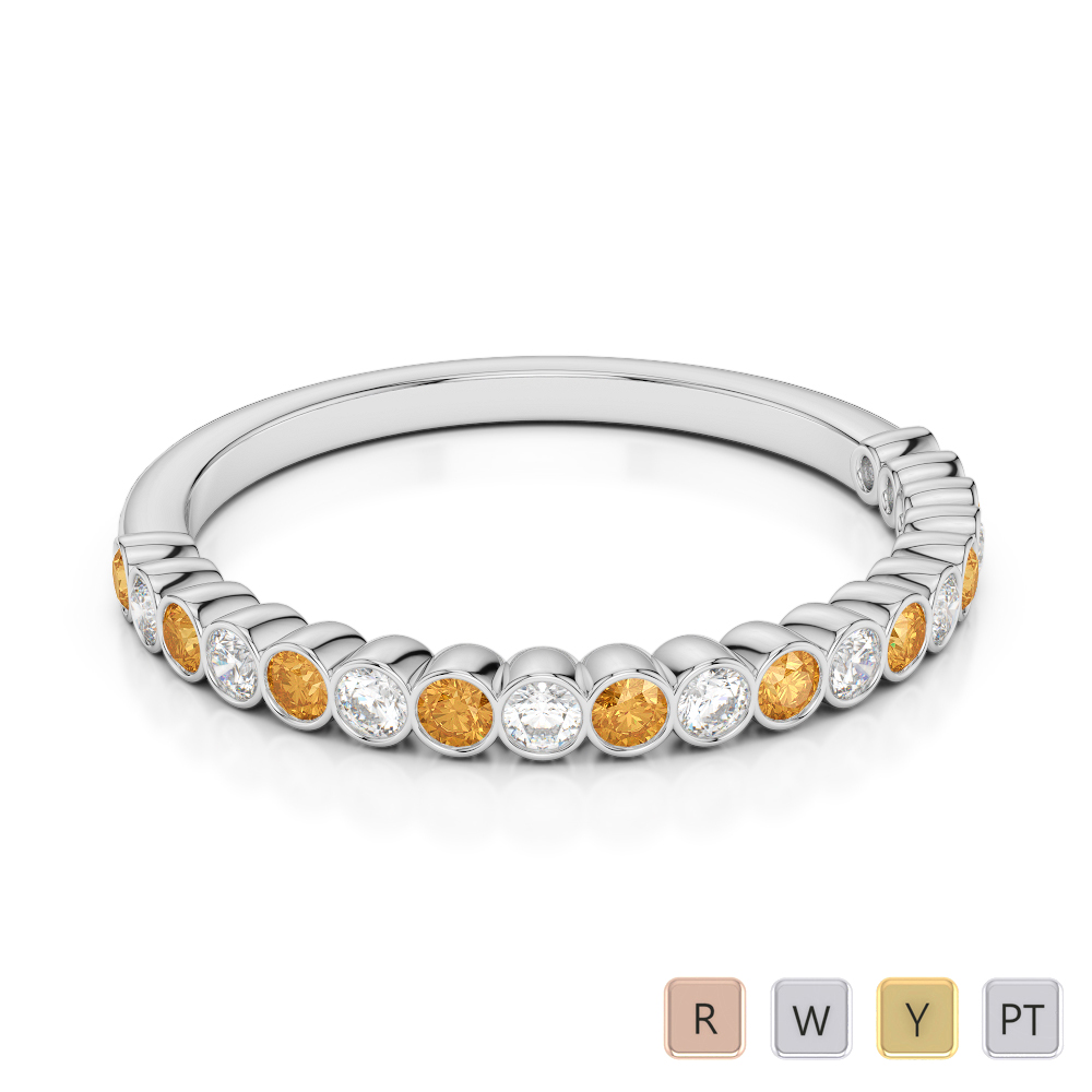 2 MM Gold / Platinum Round Cut Citrine and Diamond Half Eternity Ring AGDR-1101