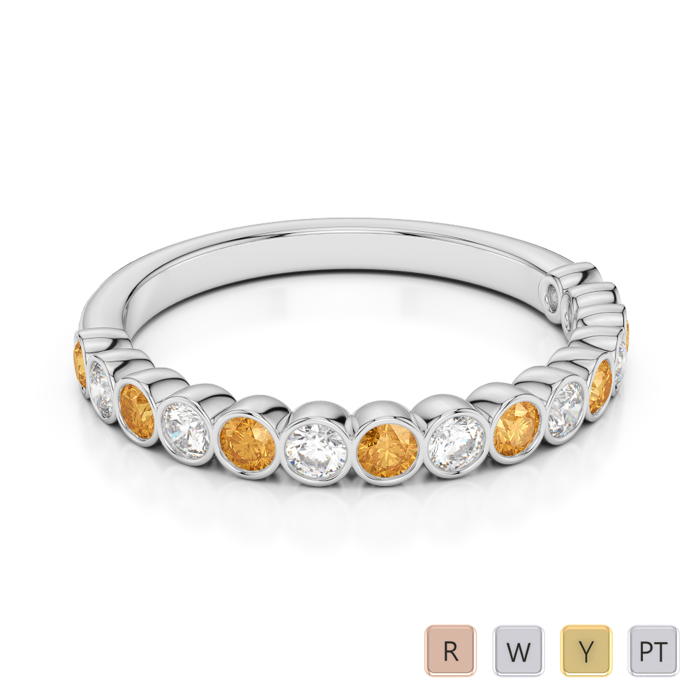 2.5 MM Gold / Platinum Round Cut Citrine and Diamond Half Eternity Ring AGDR-1102