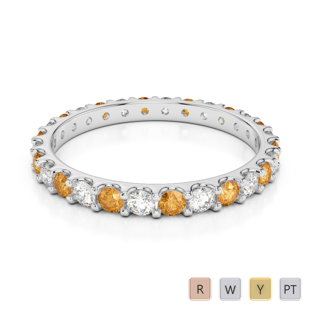 2 MM Gold / Platinum Round Cut Citrine and Diamond Full Eternity Ring AGDR-1104