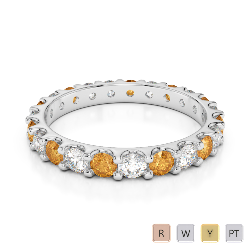 2.5 MM Gold / Platinum Round Cut Citrine and Diamond Full Eternity Ring AGDR-1105