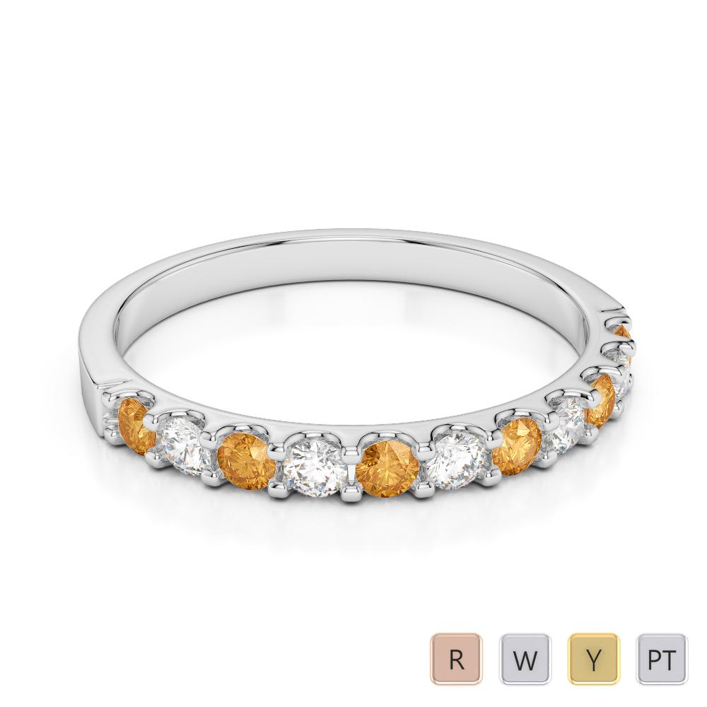 2 MM Gold / Platinum Round Cut Citrine and Diamond Half Eternity Ring AGDR-1107
