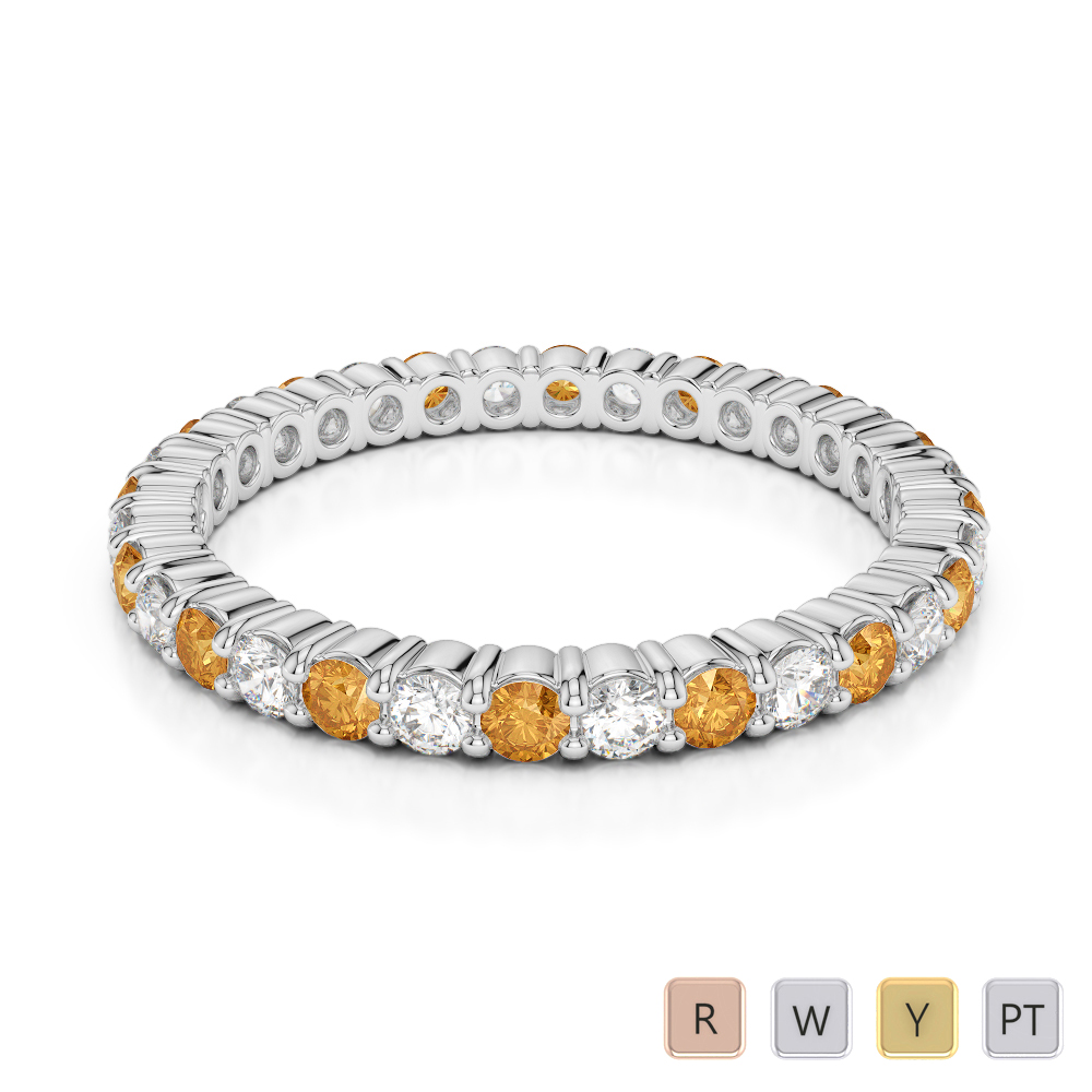 2 MM Gold / Platinum Round Cut Citrine and Diamond Full Eternity Ring AGDR-1110