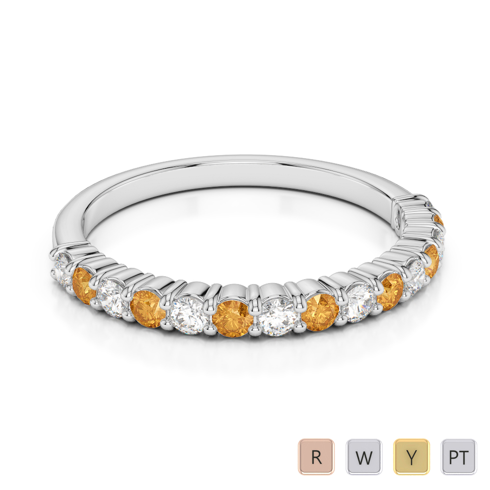 2 MM Gold / Platinum Round Cut Citrine and Diamond Half Eternity Ring AGDR-1113