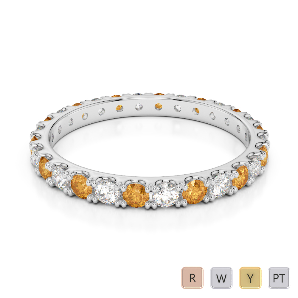 2 MM Gold / Platinum Round Cut Citrine and Diamond Full Eternity Ring AGDR-1120
