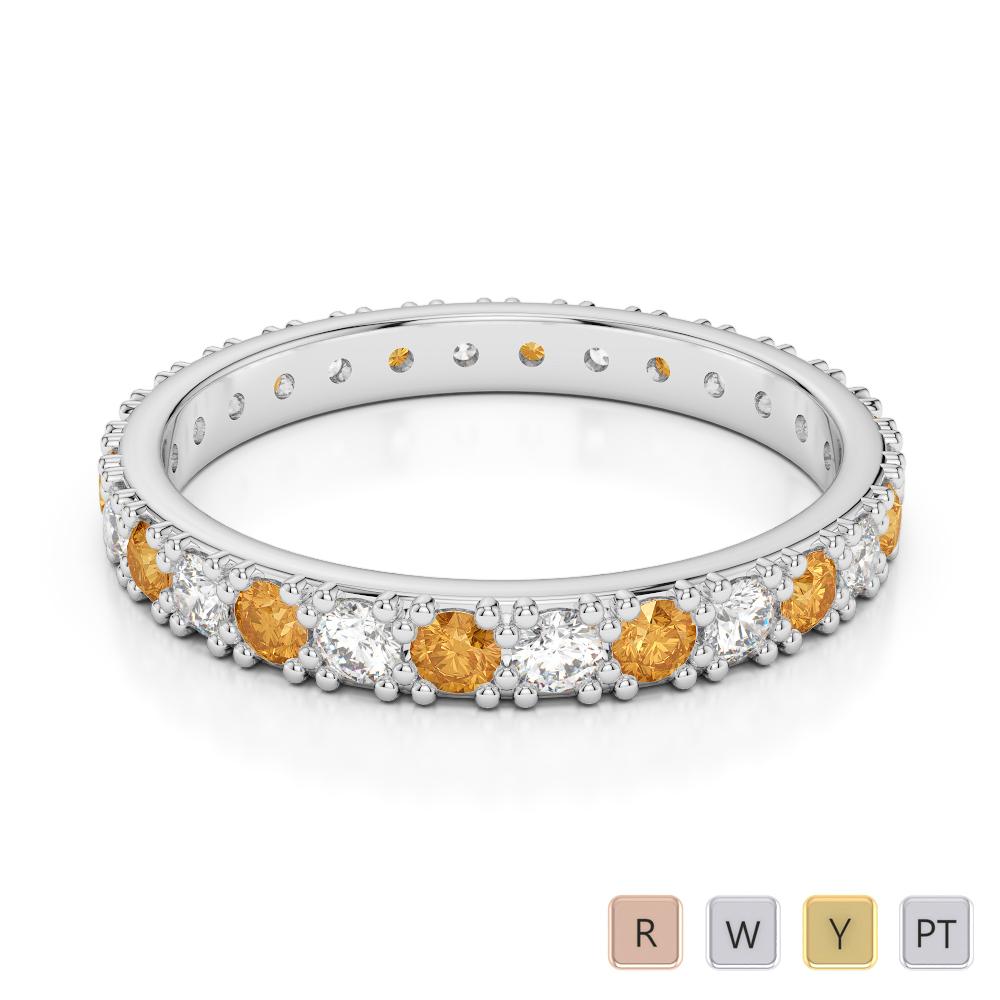 2.5 MM Gold / Platinum Round Cut Citrine and Diamond Full Eternity Ring AGDR-1127