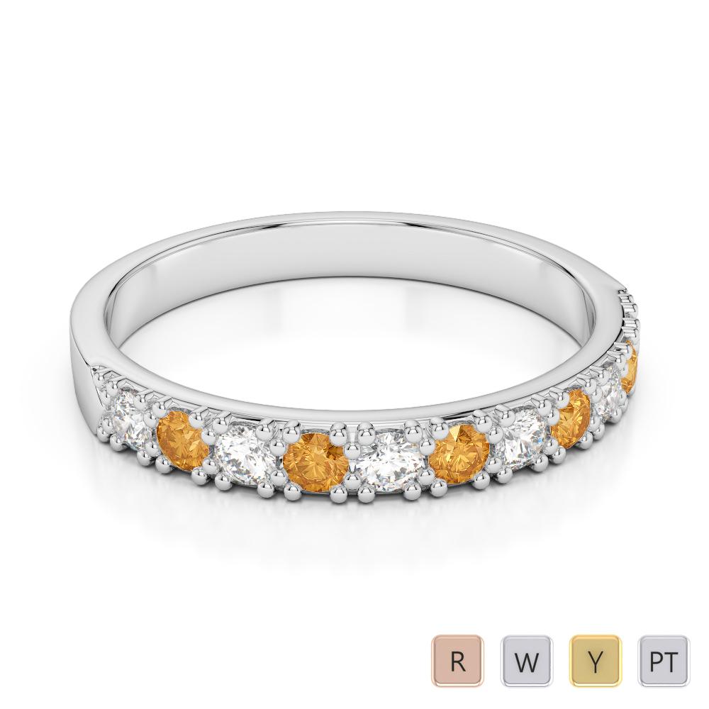 3 MM Gold / Platinum Round Cut Citrine and Diamond Half Eternity Ring AGDR-1130
