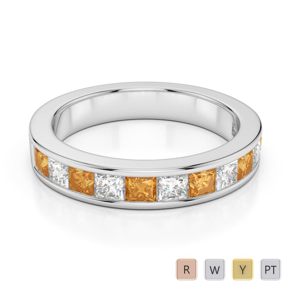 4 MM Gold / Platinum Princess Cut Citrine and Diamond Half Eternity Ring AGDR-1137