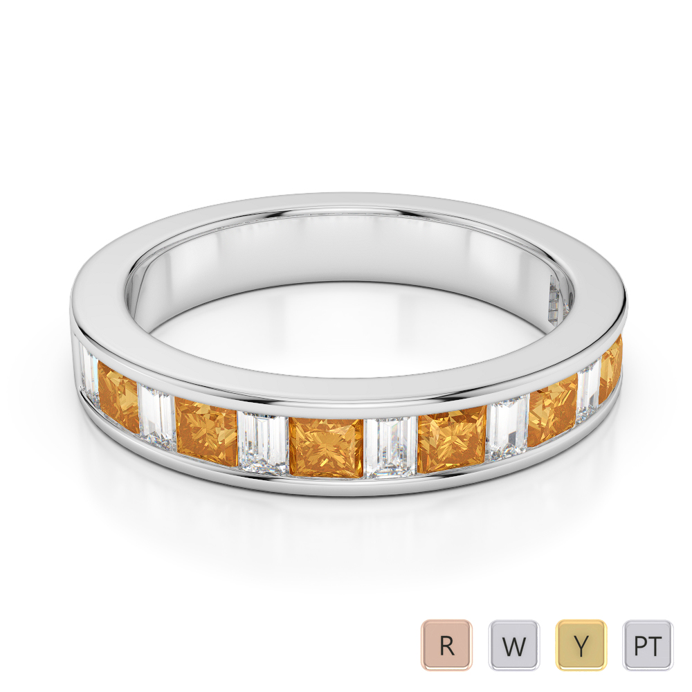 4 MM Gold / Platinum Princess and Baguette Cut Citrine and Diamond Half Eternity Ring AGDR-1143