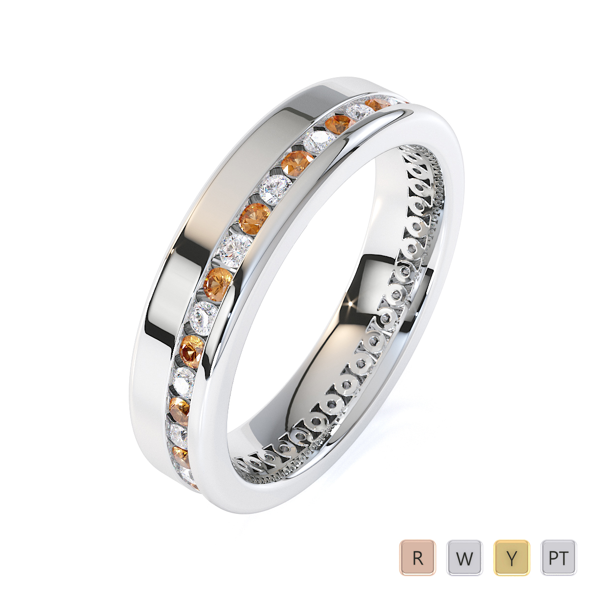 Gold / Platinum Citrine and Diamond Full Eternity Ring RZ1514