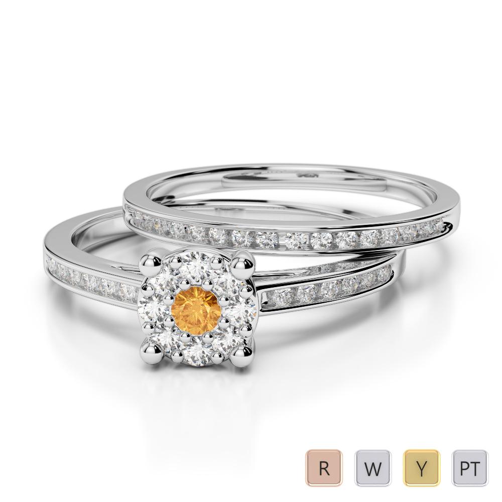 Gold / Platinum Round cut Citrine and Diamond Bridal Set Ring AGDR-1052