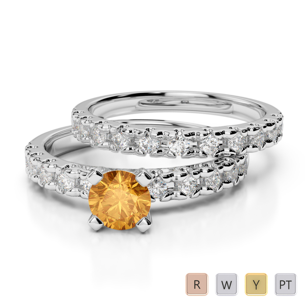 Gold / Platinum Round cut Citrine and Diamond Bridal Set Ring AGDR-1144